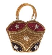 Envie Faux Leather Embellished Black & Gold Zipper Closure Handbag