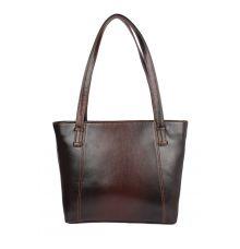Faux  Leather Brown Coloured Zipper Closure Formal Handbag