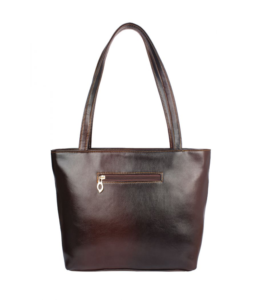 Faux  Leather Brown Coloured Zipper Closure Formal Handbag