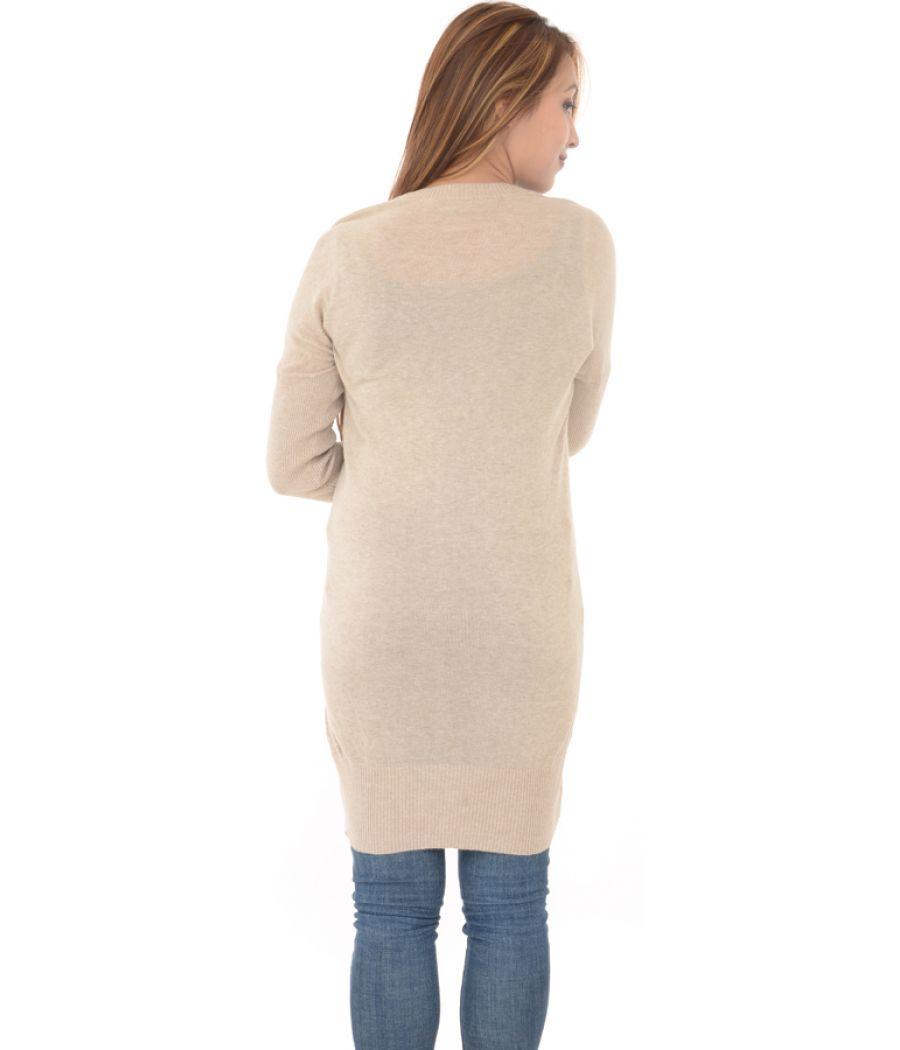 Dorothy Perkins Light Brown Neck Beaded Sweater