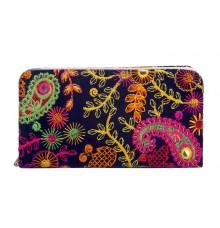 Envie Cloth/Textile/Fabric Blue & Multi Zipper Closure Embroidered  Clutch