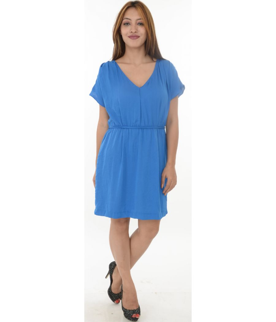 Zara Basic Blue Smoked Waist Shift Dress