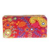 Envie Cloth/Textile/Fabric Embroidered Red & Multi Zipper Closure Clutch
