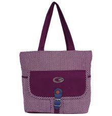 Aliado Cloth Fabric Purple  Coloured Zipper Closure  Handbag