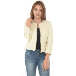 Zara Cream Faux Suede Biker Jacket