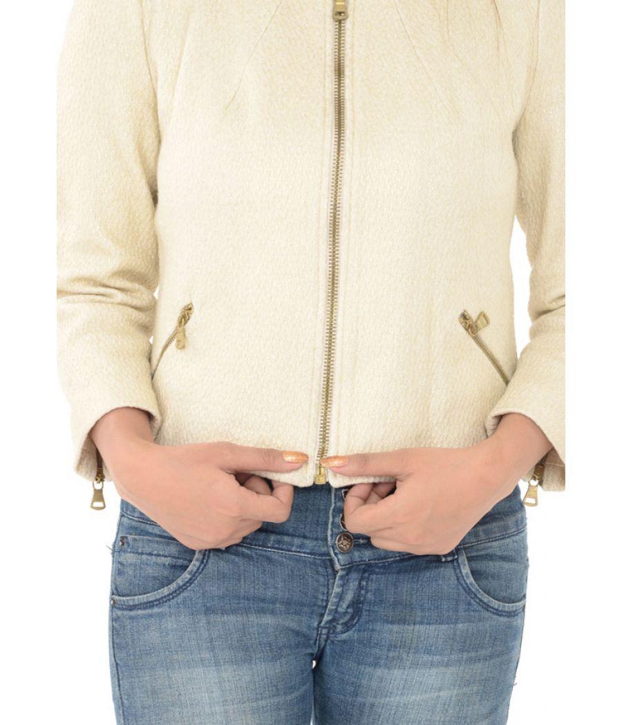 Zara Cream Faux Suede Biker Jacket