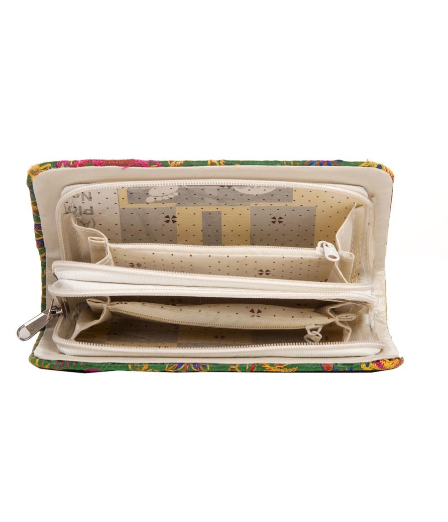 Envie Cloth/Textile/Fabric Embroidered Green Zipper Closure Clutch for Women