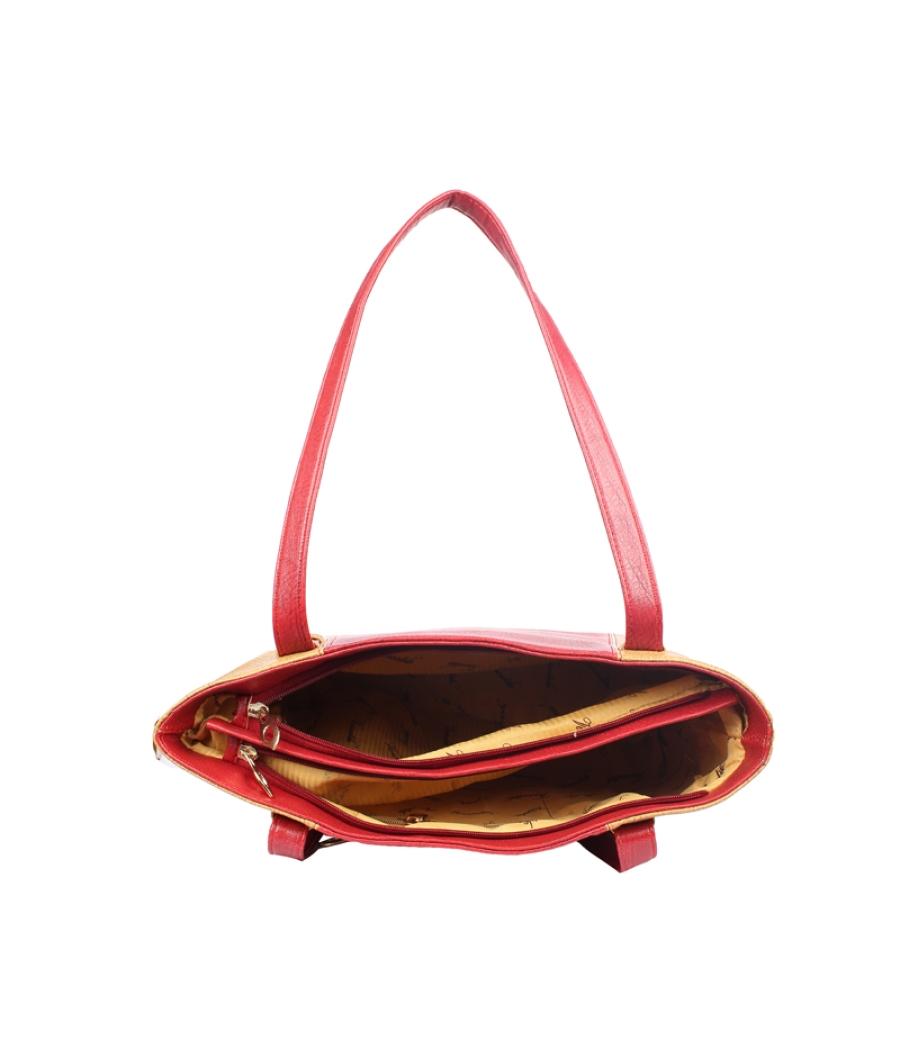 Aliado  Faux Leather Red and Beige Coloured Zipper Closure Bag
