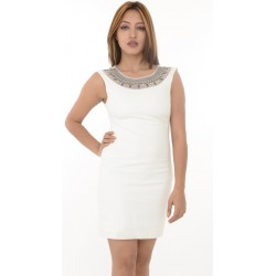 Zara Trafaluc White Neck Embroidered Bodycon Dress