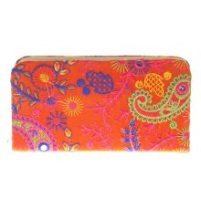 Envie Cloth/Textile/Fabric Embroidered Orange & Multi Zipper Closure Clutch for Women