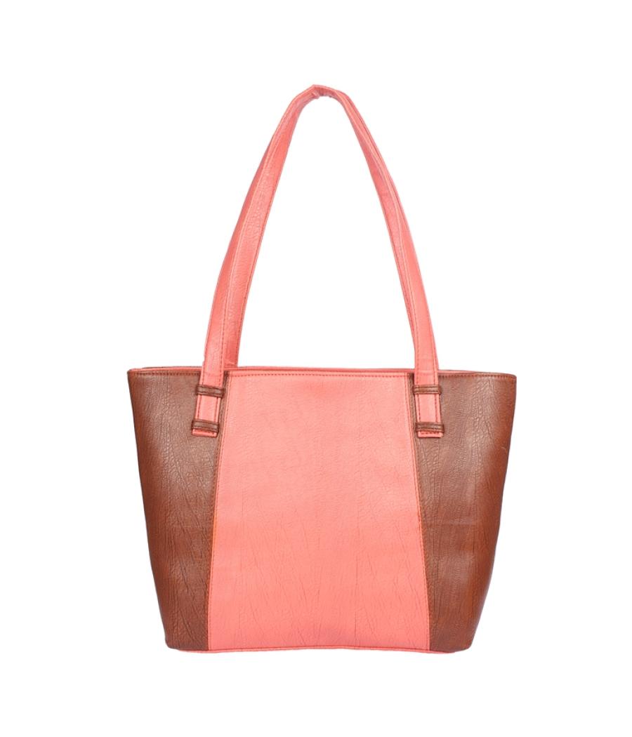 Aliado Faux Leather Pink and Brown Coloured   Zipper Closure Handbag