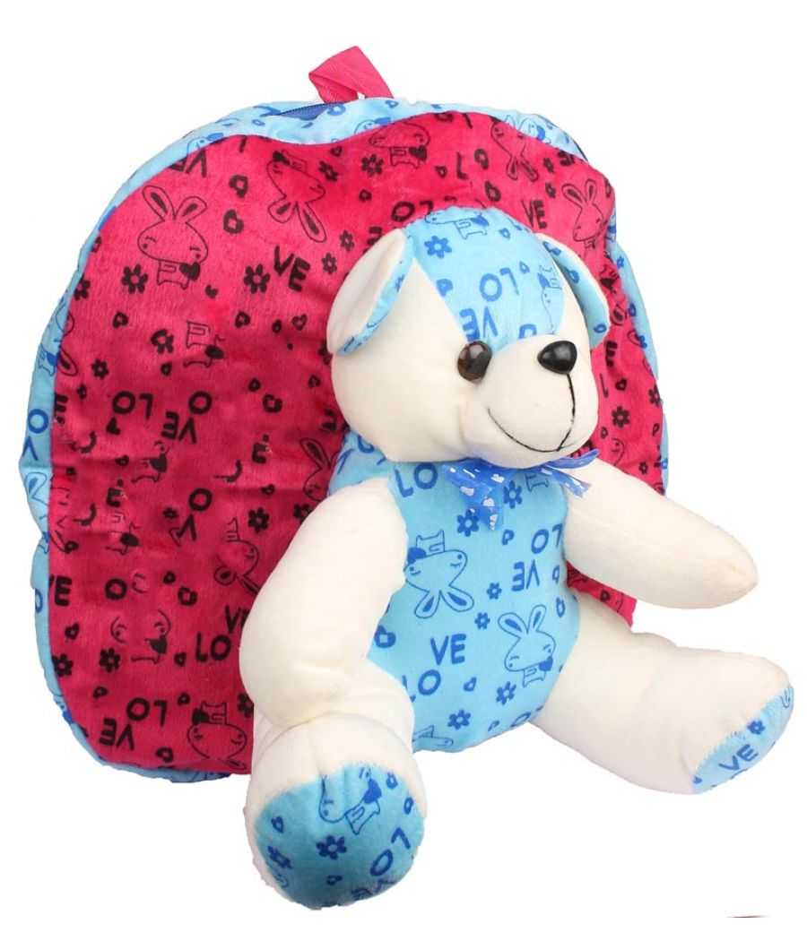 Envie Faux Fur  Pink  and Blue  Coloured Zipper Closure Backpack
