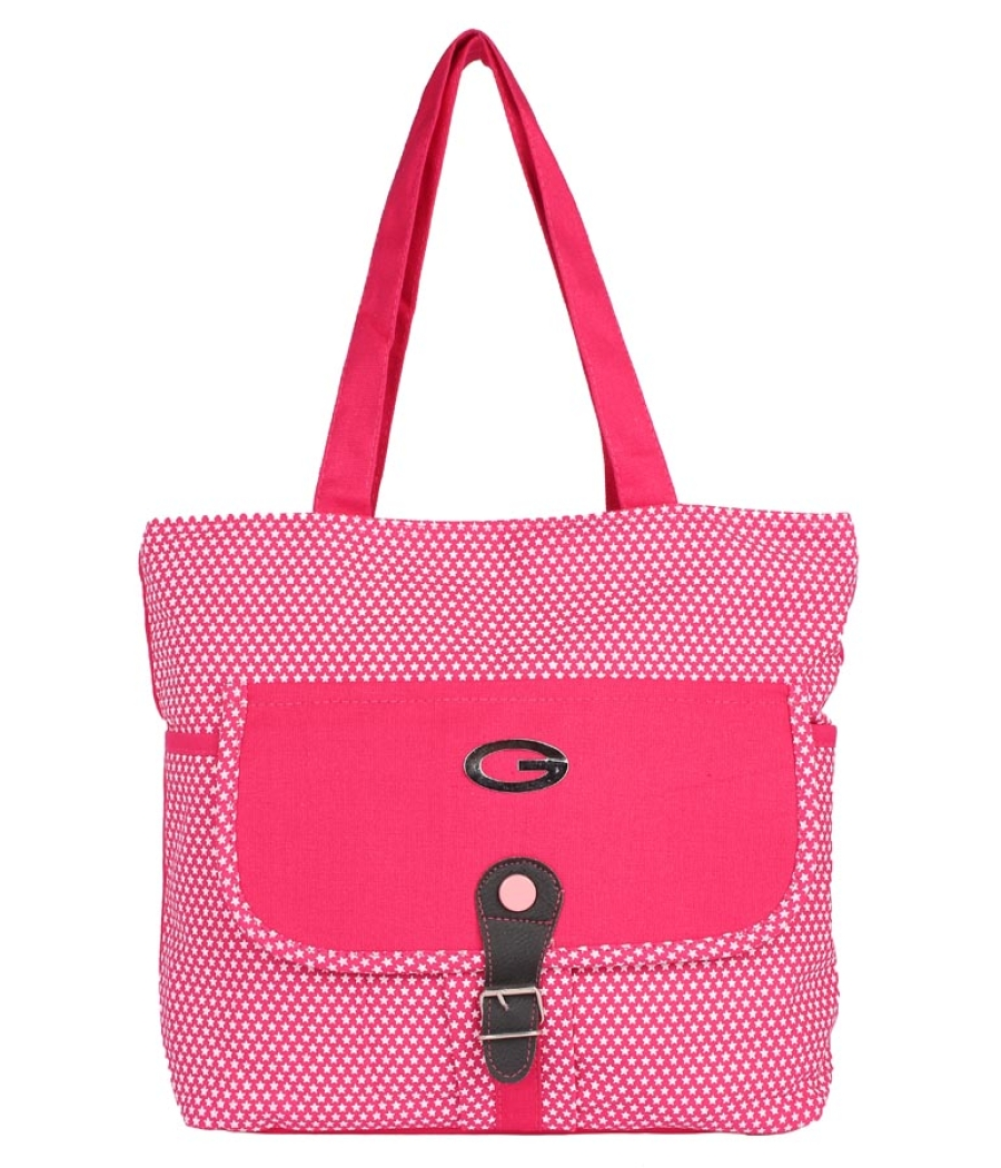 Aliado Cloth Fabric Pink and White Coloured Zipper Closure  Handbag