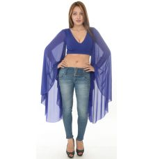 Rare London Blue Flared Sleeves Crop Top