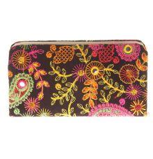 Envie Cloth/Textile/Fabric Embroidered Black & Multi Zipper Closure Clutch for Women