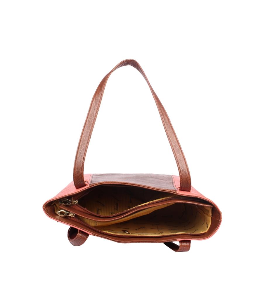 Aliado Faux Leather Brown  and Pink Coloured Zipper Closure Handbag