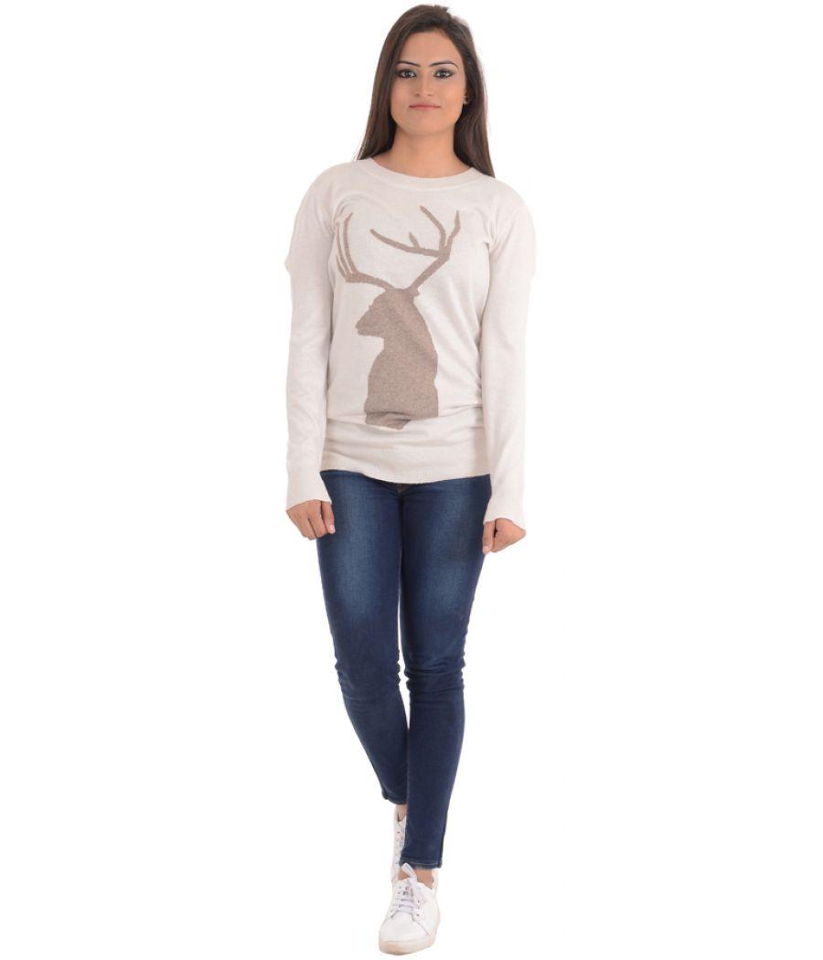 Version Feminin Viscose Off White / Brown Sweater