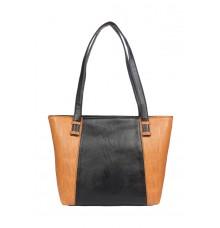 Aliado Faux Leather Black and Brown Coloured  Zipper Closure Handbag