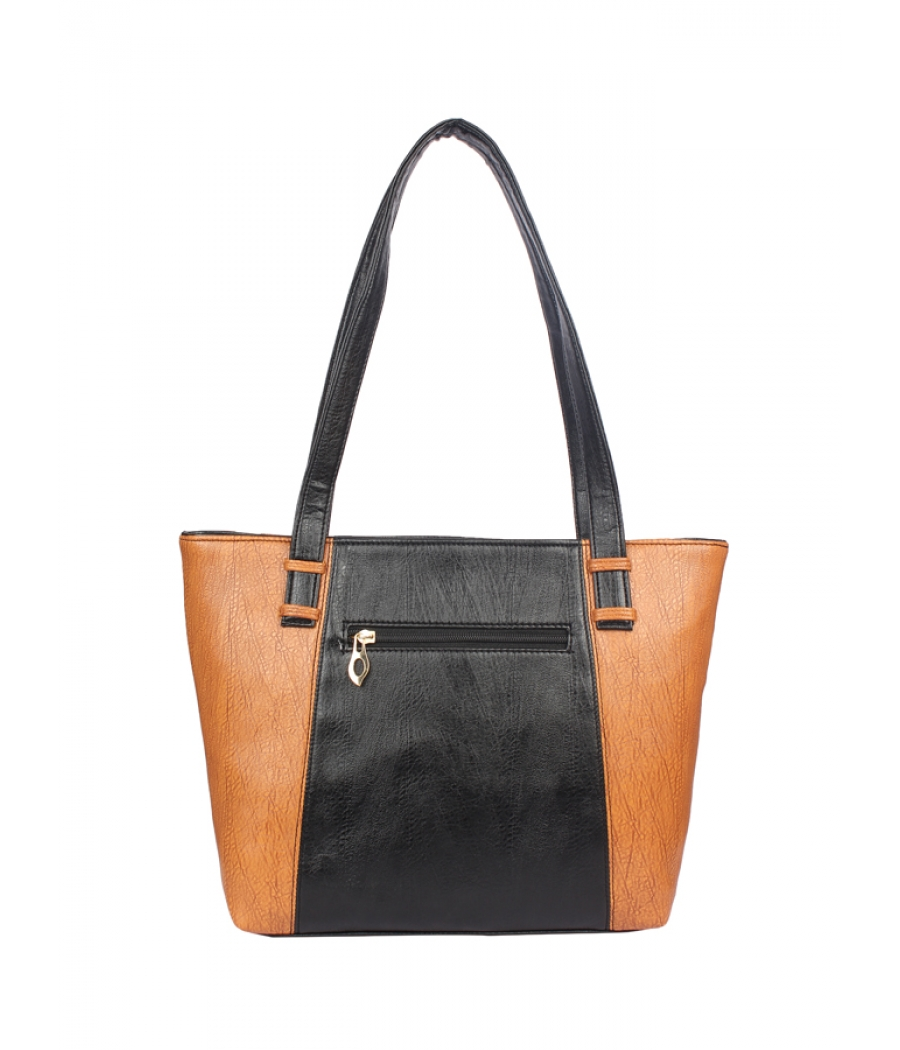 Aliado Faux Leather Black and Brown Coloured  Zipper Closure Handbag