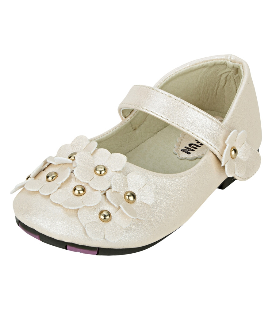 Joy n Fun Shiny Leather Front Strap Decorated Beige Party Wear Shoes for Baby Girls