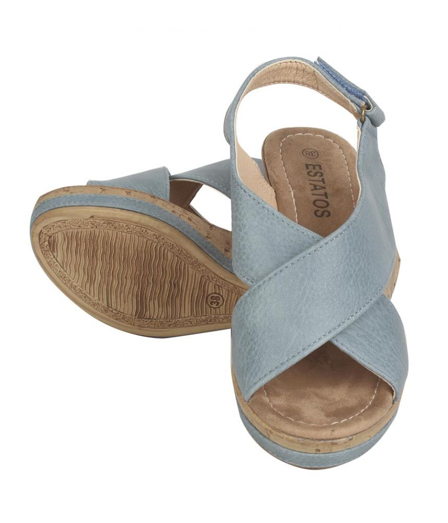 Estatos PU  Blue Coloured Cross Strap Open Toe Platform Wedges