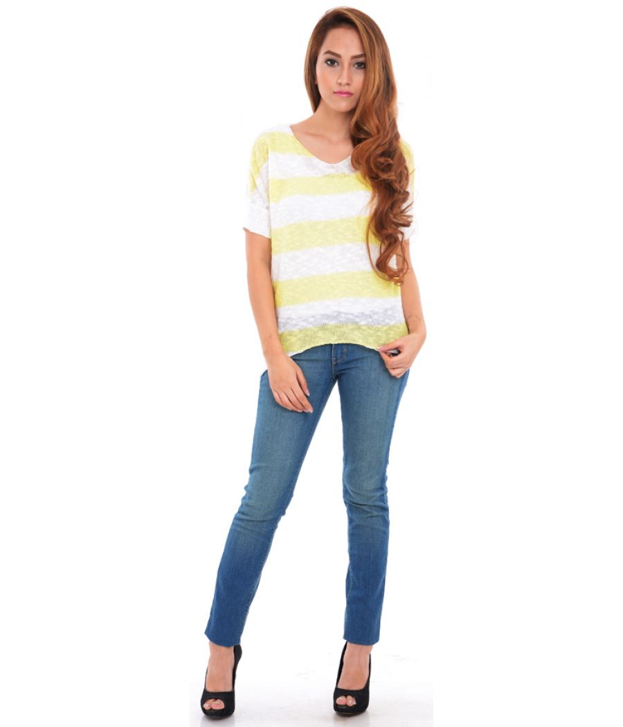 Estance Cotton Knitted Half Sleeves Yellow/White Sweater