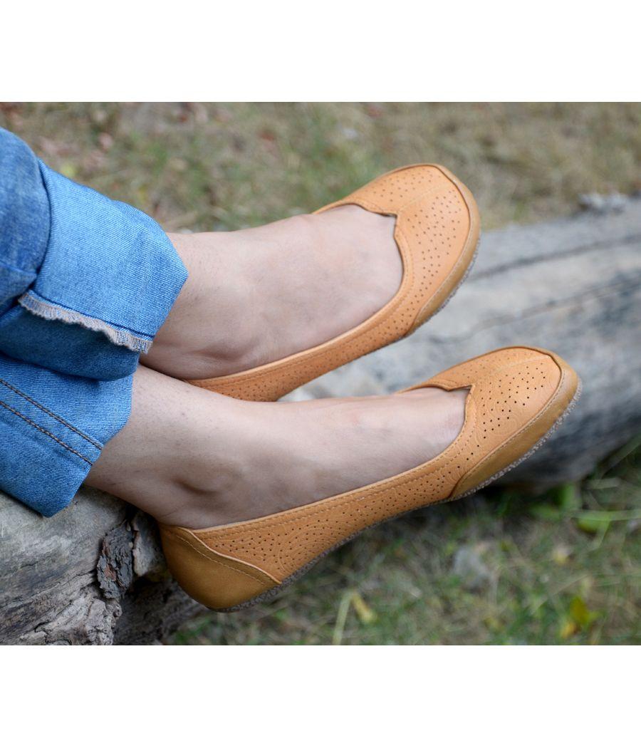 Estatos Perforated Leather Cut work Platform Heeled Light Brown/Orange bellerina/shoes