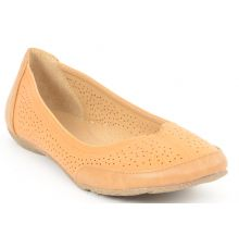 Estatos Perforated Leather Cut work Platform Heeled Light Brown/Orange bellerina/shoes