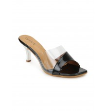 Estatos Synthetic Leather Pointed Heeled Black Sandals