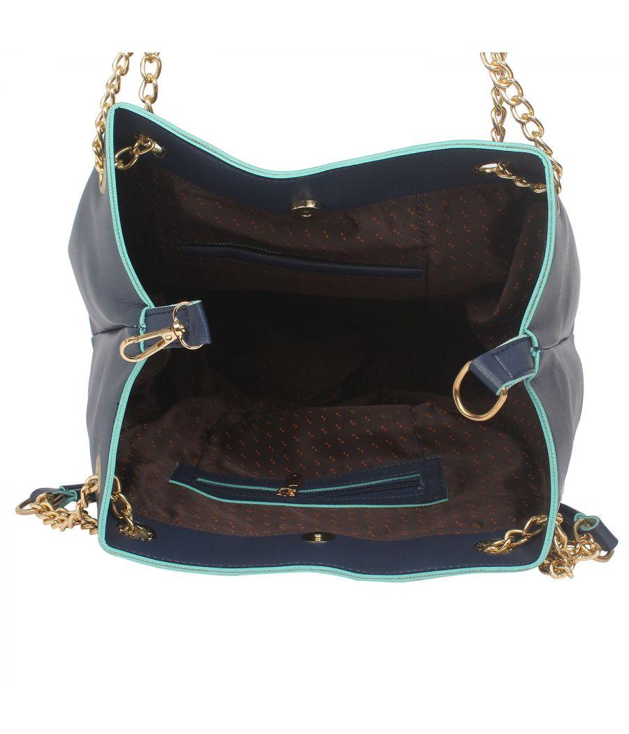 Aliado Blue Artificial Leather Tuck Lock Closure Handbag
