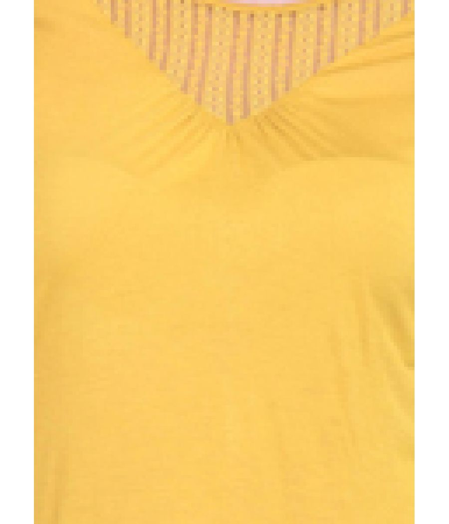 Estance Hosiery Plain Yellow Round Neck Full Sleeves Casual Top