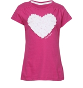 Joy n Fun Heart Applique Magenta/Pink Solid Cotton Half  Sleeves Girls Top/T-shirt