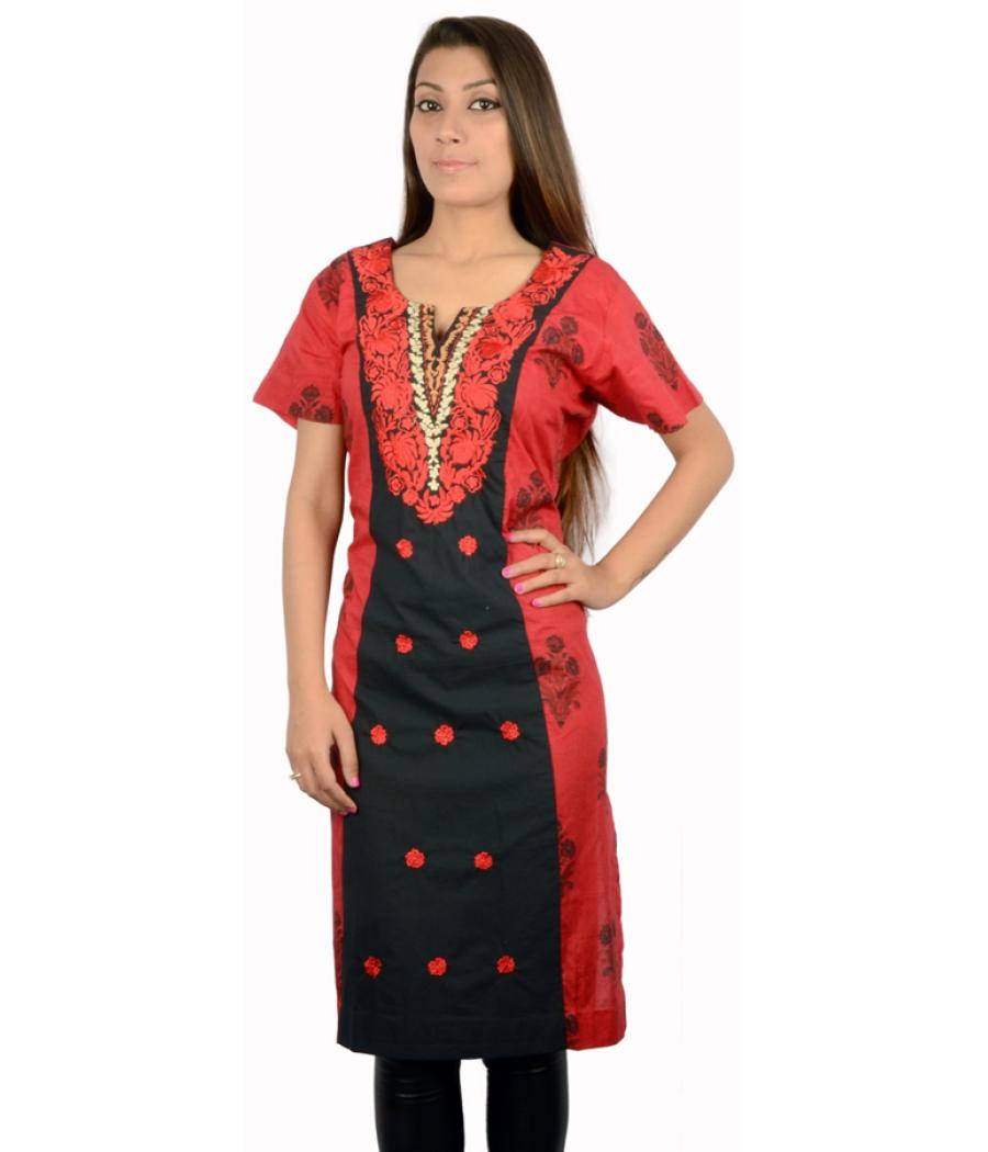 Black and Red Printed Kurta