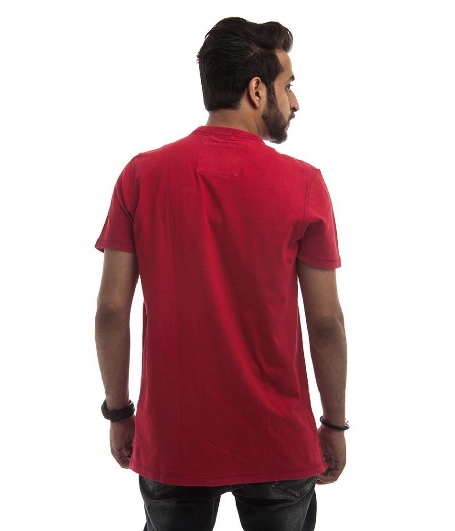 Abercrombie Polycotton Red & White Plain Patch Work Regular Fit Casual T-shirt