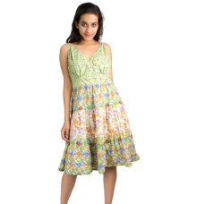 Green Printed Cotton Dress