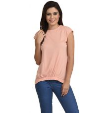 Estance Jersey Solid Gathered Peach Top