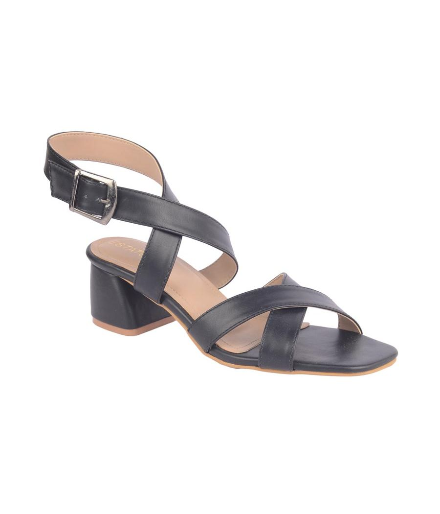 Estatos Synthetic Leather Buckle               Closure Cross Strap Black Sandals