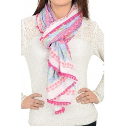 Etashee Certified Multi-coloured Stole with Pom Pom