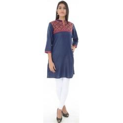 Sabhyata Blue Mandarin Collar Kurti