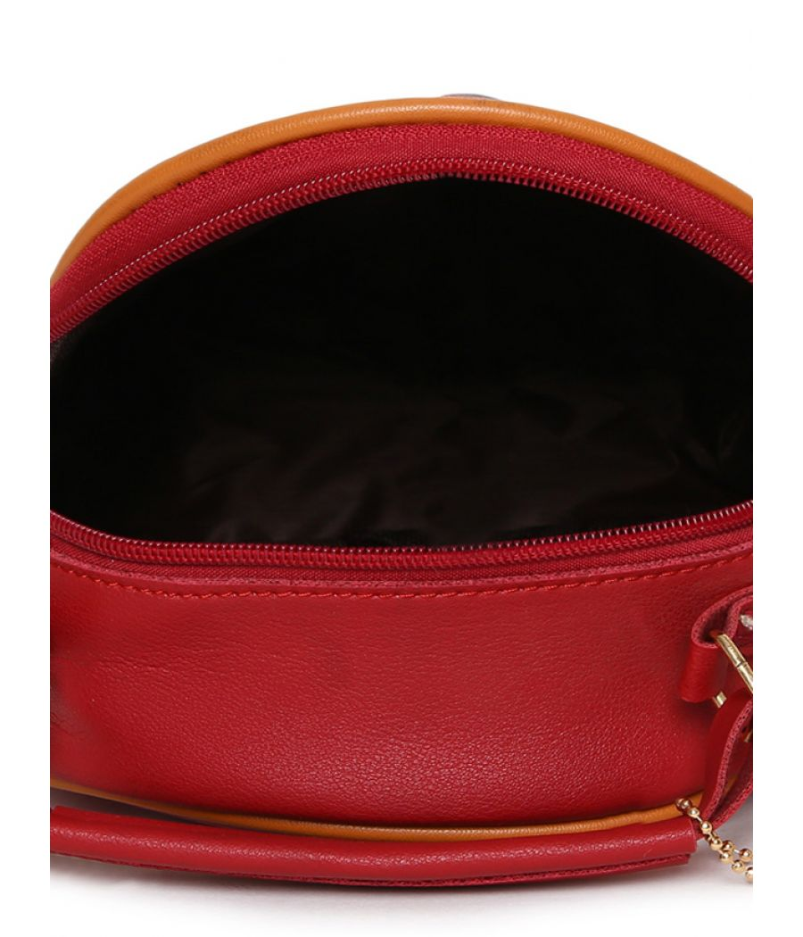 Envie Red Colour Printed Slingbag for College Girls