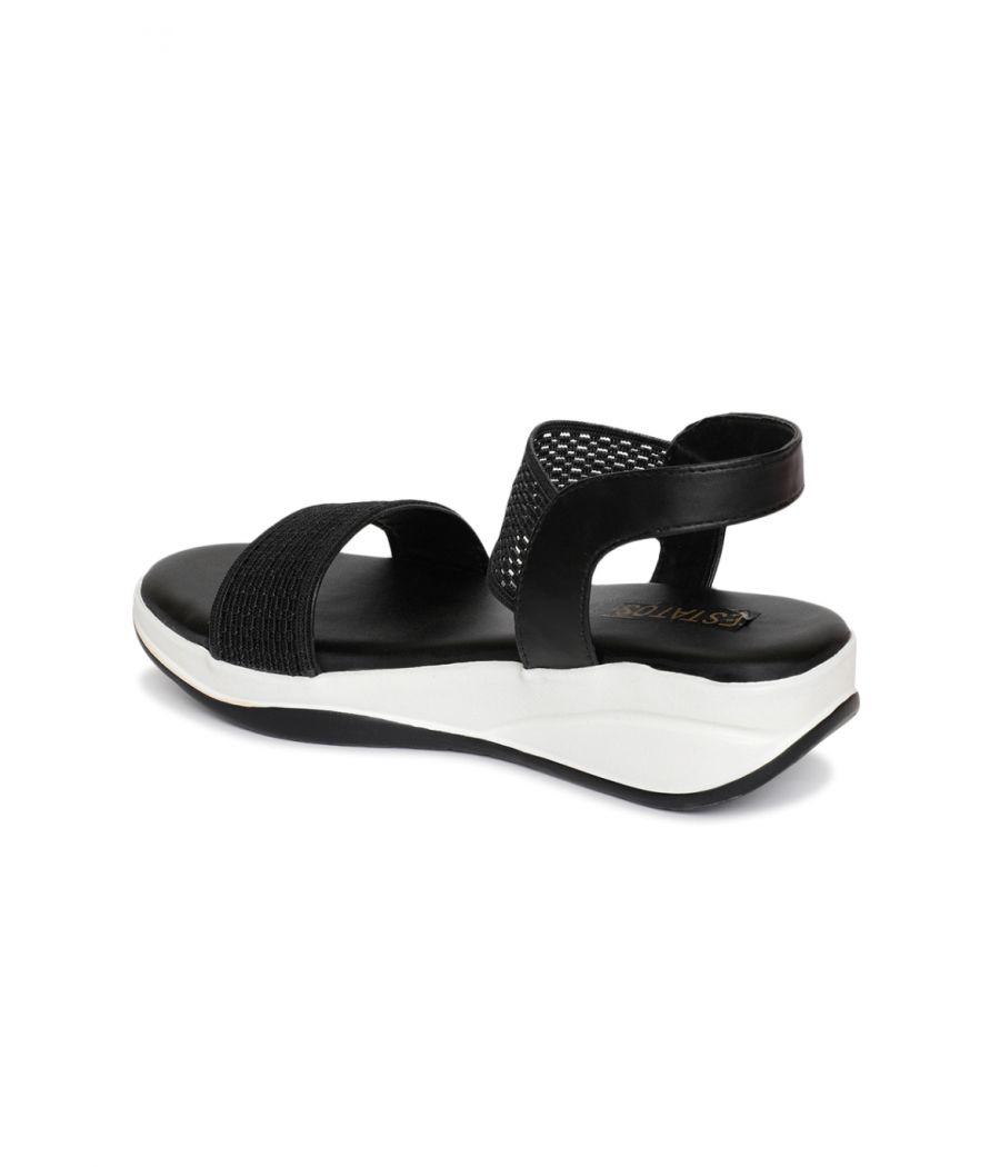 Estatos PU Black Coloured Buckle Closure Open Toe Wedges