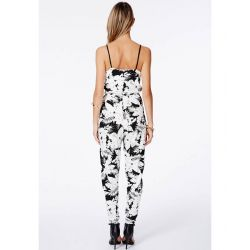 Missguided Black & White Floral Strappy Jumpsuit