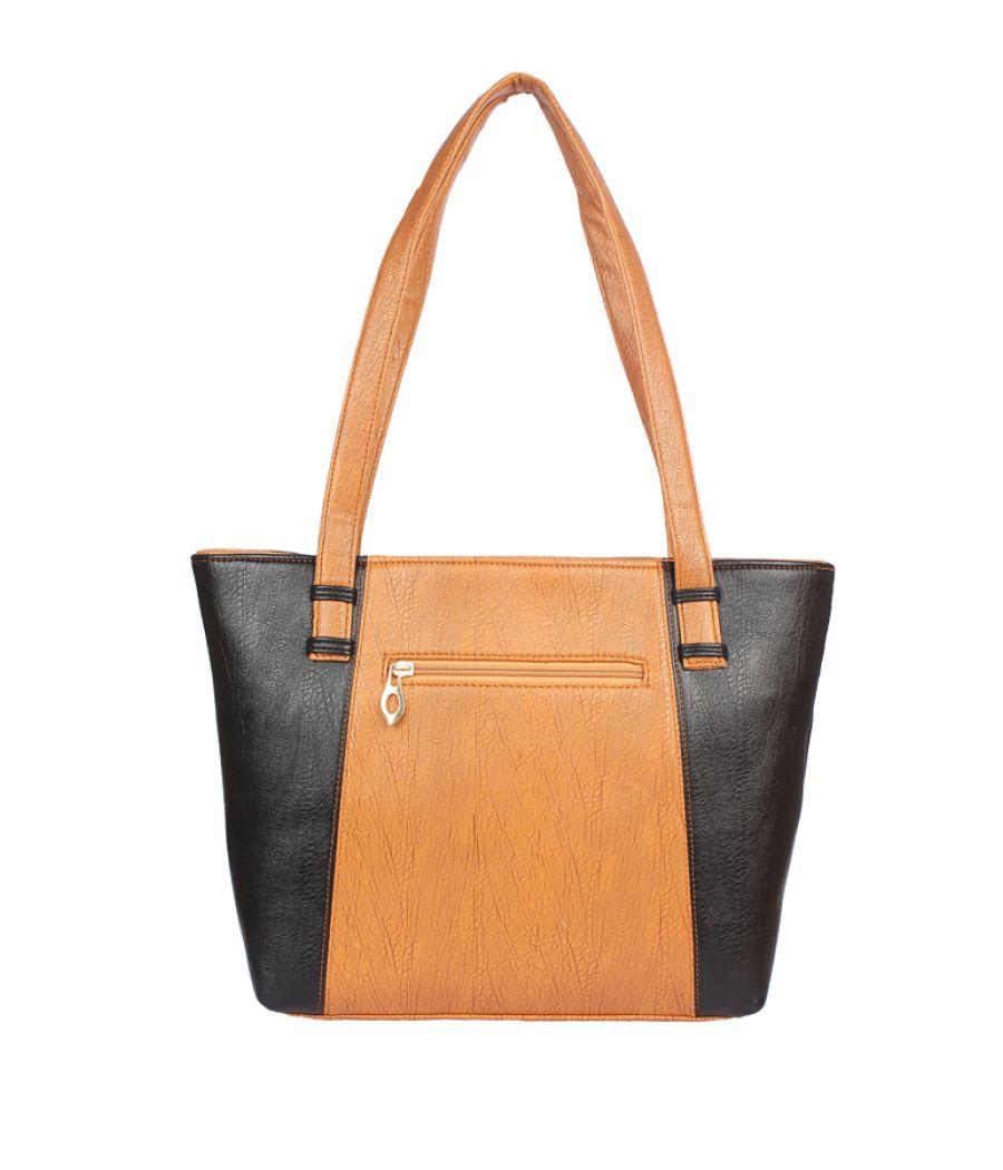 Aliado Faux Leather Brown and Black Coloured Zipper Closure    Formal Handbag