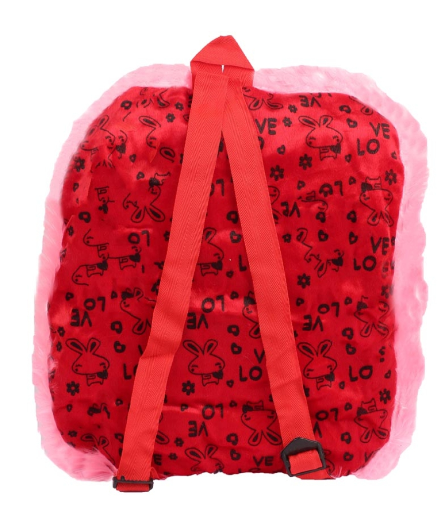 Envie Faux Fur   Pink  and   Red  Coloured Zipper    Closure Backpack