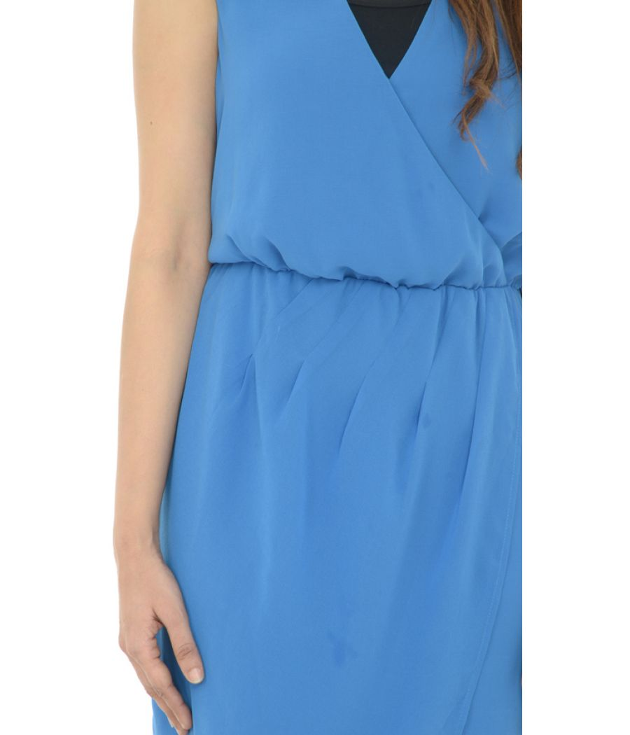 Warehouse Polyester Blouson Blue Dress