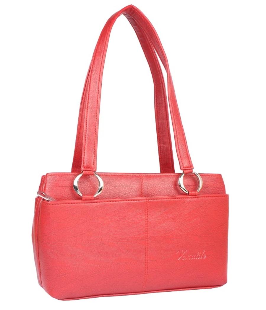 Aliado Faux Leather Pink Coloured Zipper Closure Handbag