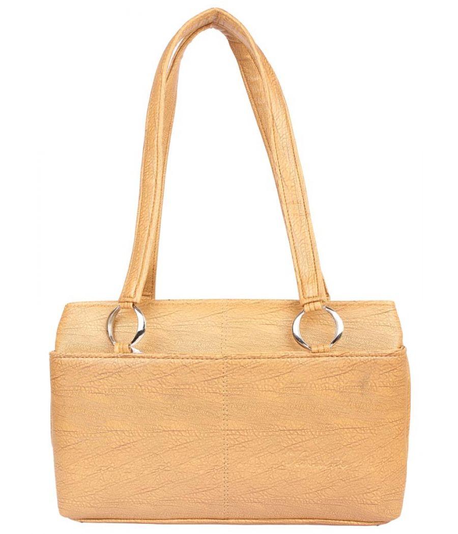 Aliado Faux Leather Beige Zipper Closure Tote Bag
