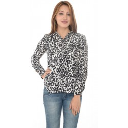 Zara Woman White & Black Leopard Print Shirt