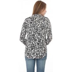Zara Woman White & Black Leopard Print Shirt
