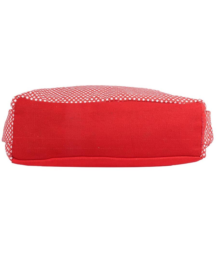 Aliado Cloth Fabric Red and White Coloured Zipper Closure  Handbag